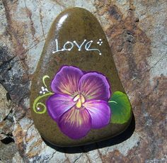Hand Painted Idaho River Rock Paper Weight Pansy Love | eBay