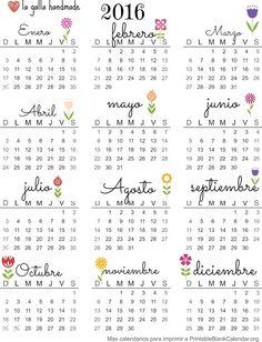 calendario imprimible gratuito calendario 2016                                                                                                                                                                                 Más