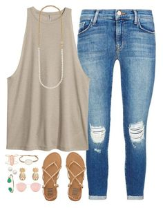 """Airport"" by conleighh ❤ liked on Polyvore featuring J Brand, Billabong, Tai, Kate Spade, Ray-Ban and Kendra Scott"