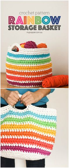 That is why we decided to bring these free and amazing crochet baskets for storage. Just scroll down to have a look at them all and you will be no less than wondered to see their quirky designs,Rainbow Storage Basket