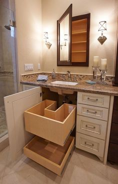 8 Excellent Cool Tips: Bathroom Remodel Tips Walk In Shower bathroom remodel layout framed mirrors.Bathroom Remodel Cabinets Projects mobile home master bathroom remodel.Bathroom Remodel Gray And White. Bathroom Renos, Bathroom Interior, Bathroom Renovations, Remodel Bathroom, Bathroom Vanities, Small Bathroom Cabinets, Bathroom Vanity Storage, Bathroom Drawers, Lowes Bathroom