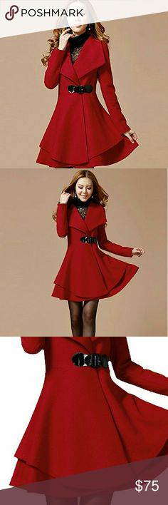 Women Winter Coat Women's Winter Wool Blend Belted Label Wrap Trench Coat Jacket Size :inch length :33.54                    Bust:35.1                    Shoulder: 14.04                     Color:Red Note: the belt have a little cracks  but its noticeable Jackets & Coats Trench Coats