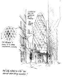Norman Foster - Sede Swiss Re, 30 st. 30 St Mary Axe, Norman Foster, Gherkin London, Swiss Re, Foster Partners, Famous Architects, Concept Diagram, Hand Sketch, Architecture Drawings