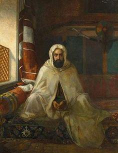 Stanisław Chlebowski - Oil Portrait of Abd el-Kader, History Of Islam, Sufi Poetry, Exotic Art, Arabic Art, Arabic Design, Oil Portrait, Portrait Paintings, Turkish Art, Painting Gallery