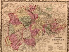 Germany #2 Southern region 1862 by Johnson and Ward Historic Map. A wide and growing selection of inexpensive reprints of rare Historic Maps are available from Hearthstone Legacy Publications at: http://www.hearthstonelegacy.com/Historic-Map-Reprints.htm