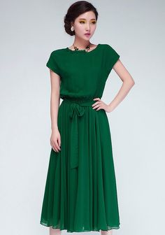 Green Plain Short Sleeve Wrap Chiffon Maxi Dress