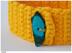 Casual Bracelet Yellow Crochet - Cotton Bracelet Cuff with a Turquoise Blue Coconut Heishi - Minimalist Jewelry - Simple Friendship Bracelet