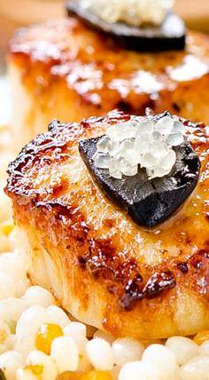 Seared Scallops with Lime Black Garlic Sauce… Garlic Recipes, Fish Recipes, Seafood Recipes, Healthy Recipes, Seafood Dishes, Fish And Seafood, Canned Blueberries, Vegan Scones, Scones Ingredients