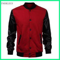 Cool Mens Wine Red Baseball Jacket Autumn Fashion Slim Black Pu Leather  Sleeve Bomber Jacket Jaquetas b853337bdd7