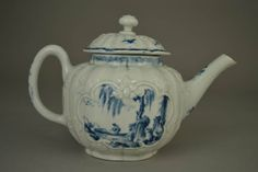 Teapot; porcelain; moulded globular ribbed body; two panels and floral ornaments in slight relief; painted in blue under the glaze with fishing and boating scene in Chinese style, the so-called 'Indian Fisherman Pattern' (Branyan et al I.B. 22, p. 115) , and detached floral sprays and insects; painted with a border pattern Branyan 122, p. 408 on the lid and on the neck of the teapot; marked.