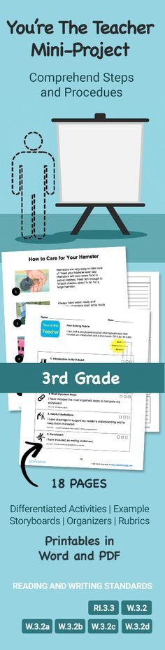You're the Teacher mini-project for 3rd grade that teaches students to comprehend steps and procedures. Printable resource from goalbookapp.com that you can download in Word and PDF to use in your classroom (18 pages). Includes Rubrics, Example Storyboards, and Graphic Organizers. Differentiated, Hands-on activities for students. Covers third grade Reading and Writing Standards RI.3.3, W.3.2, W.3.2a, W.3.2b, W.3.2c, W.3.2d