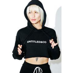 Untitled & Co Black Cropped Hoodie ($75) ❤ liked on Polyvore featuring tops, hoodies, sweatshirt hoodies, cut-out crop tops, hoodie crop top, logo top and hooded pullover