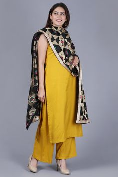 f1dfcb5f46 anokherang   Mustard Fire Straight Rayon Kurti with Straight Palazzo and  Black Gold   Ethnic Fashion