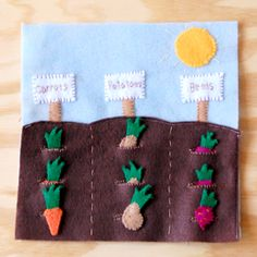 Use this template to make a fun and cute vegetable garden quietbook page.