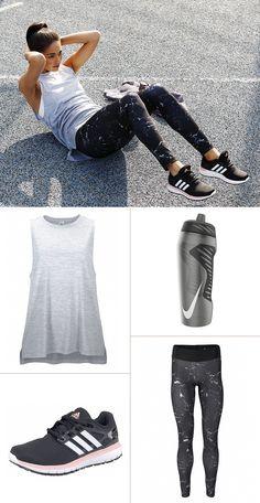 Starke Schwarz-Weiß-Kontraste und graue Zwischentöne – so entsteht ein stimmiges Sport-Outfit mit hohem Style-Faktor!
