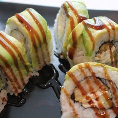 Shrimp Tempura Sushi Roll with Avocado on Top