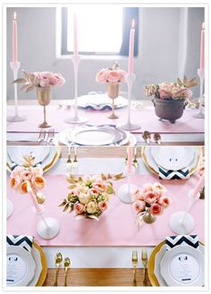 Color scheme inspiration: black, gold, and pastel pink. Use our chevron black satin napkins, pink runners and gold chargers. www.cvlinens.com