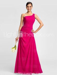 Bridesmaid Dress Floor Length Criss Cross Chiffon A Line One Shoulder Dress - GBP £ 51.74