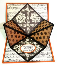 handmade Halloween card ... fabulous fold ... fun patterned papers: sheet music, walpaper baroque and big polka dots ... luv it!!