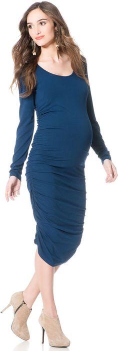 Isabella Oliver Long Sleeve Side Ruched Maternity Dress.