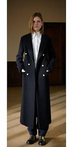 Celine 2013 Fall Ready to Wear Black Wool Felt Coat with Pearl Buttons