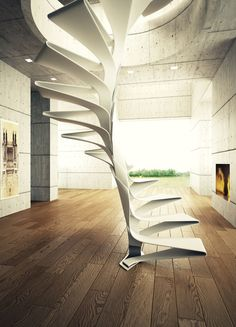 modernism minimalism interior design wood steel round staircase fireplace