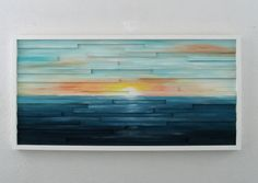 """Stunning abstract painting of a sunset painted on wooden slats of various sizes. Measures 48"""" x 24"""" so great for a large space."""