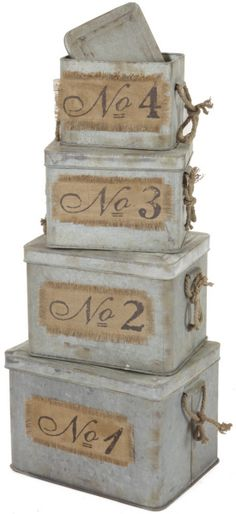 Set 4 Galvanized Metal Stacking Lidded Boxes with Rope Handles Sisal, Industrial Chic, Vintage Industrial, Galvanized Metal, Galvanized Buckets, Blanket Box, Office Makeover, Hat Boxes, Metal Box