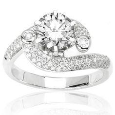 1.34 Carat IGI Certified 14K White Gold Modern Designer Pave And Bezel Set Diamond Engagement Ring