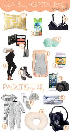 hospital bag essentials by Tabitha Blue / Fresh Mommy, via Flickr.  Definitely the best list I've seen so far.  Has all the essentials without the extra fluff I see on other lists!