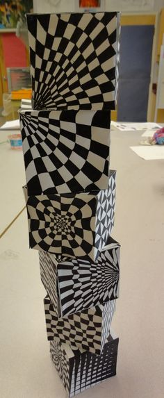 Art Mash  3-D op art cube stack ups good for art show