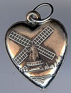 VINTAGE STERLING SILVER WINDMILL PUFFY HEART CHARM