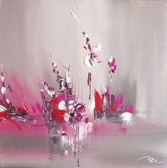 DESCRIPTION Toile a été travaillée sur le thème floral, avec des tons très tendance pour apporter une touche artistique à votre déco intérieure. Travail de la peinture au couteau pour un effet de relief avec un ajout de peinture irisée et dorée. DEMARCHE ARTISTIQUE Je crée des toiles