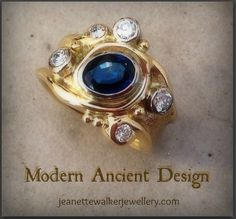"""Eco-Ethical Jewellery Design.18kt yellow gold, sapphire, diamond ring made reusing client's old gold and gemstones.  Handcrafted using the ancient technique of sand casting.    Many more stunning """"UPCYCLED"""" jewellery creations designed and made by Jeanette Walker can be found at http://jeanettewalkerjewellery.com"""