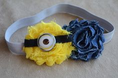 Minion Despicable Me Inspired Shabby Chic Headband by angelabrice, $7.99