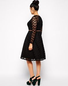 Enlarge ASOS CURVE Exclusive Midi Dress In Lace With Belt