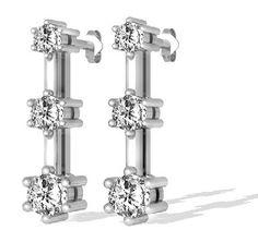 1.00 Karat Trilogie Diamantohrringe aus 585er Gold für nur 1399,00 Euro bei www.diamantring.be