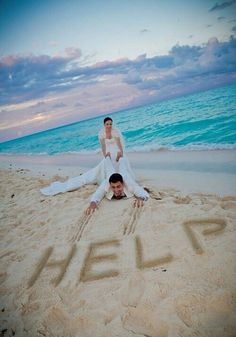 Cute wedding picture - trash the dress