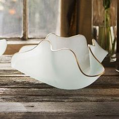 Frosted and Gold Sculptural Vase/Bowl