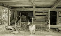 Interior of a pioneer barn in the Great Smoky Mountains National Park