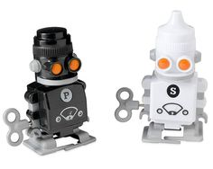 WIND-UP SALT AND PEPPER ROBOTS | Robot, Salts, Pepper, Wind, Up, Wind-up, Toys | UncommonGoods