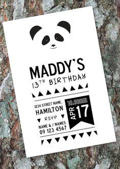 Panda Bear Invitation / Any Age Birthday Party by LittleOakInk