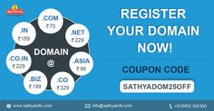 Register your domain now! Give a missed call to 09952 300300 http://sathyainfo.com/