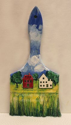 Red House and White House, Recycled Paintbrush, Art,  Original Mixed Media,Art, Gift,Repurposed, Houses, Artskrap