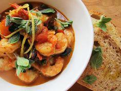 Shrimp with Puttanesca Sauce
