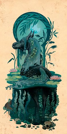 Kelpie -- The Kelpie is a supernatural  water horse from Celtic folklore. They tend to be malevolent in nature. They are able to transform (usually into beautiful women) and lure victims into the water to drown them.