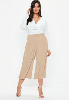 ba0048b55f0 Plus Size Crepe Wide Leg Culottes Pants  These are a wonderful example of  how amazing culottes can look. These are designed in a wide leg style and  fit ...