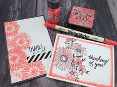 Abandoned Coral distress ink by TH. Love the paper border stamp.