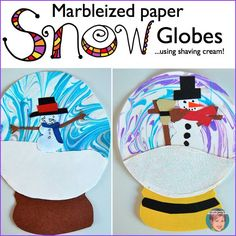 Marbleized paper using shaving cream - snow globes. Free tutorial and video included.