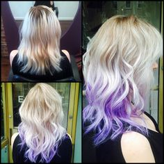 Blonde to purple ombre hair color from Exhibit : A Salon (exhibitsalon.com) in New York! Exhibit : A Salon 182 Driggs Ave Brooklyn, NY 11222 Phone number (347) 725-4779 More Hair Styles Like This!